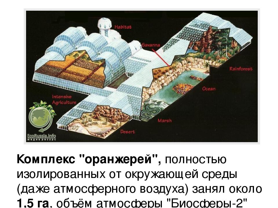 """Комплекс """"оранжерей"""", полностью изолированных от окружающей среды (даже атмос..."""
