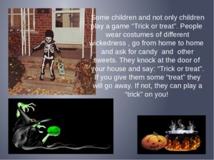 """Some children and not only children play a game """"Trick or treat"""". People wear"""