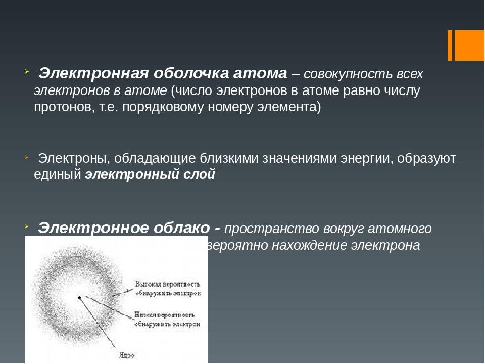 Электронная оболочка атома – совокупность всех электронов в атоме (число эле...