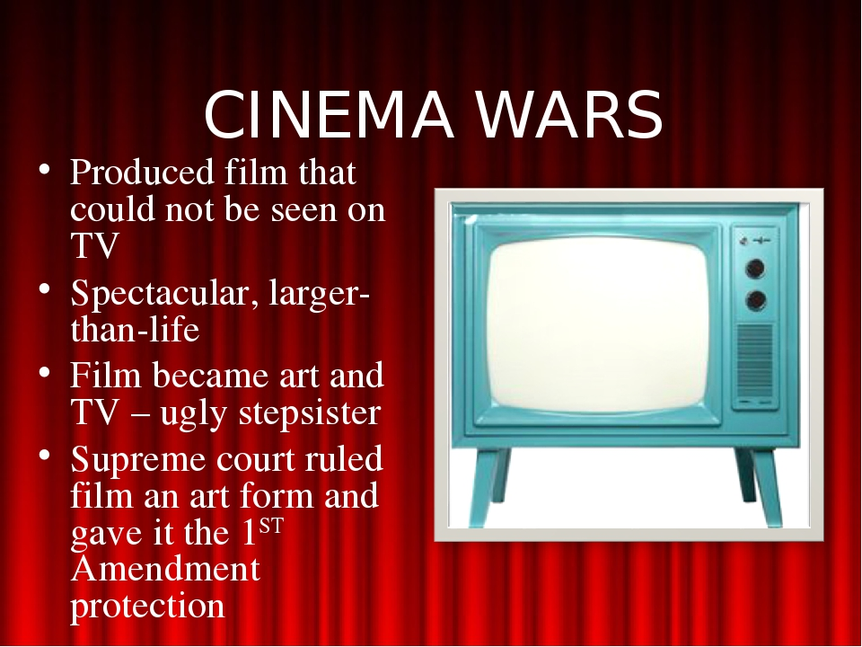 CINEMA WARS Produced film that could not be seen on TV Spectacular, larger-th...