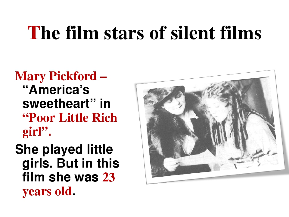 """The film stars of silent films Mary Pickford – """"America's sweetheart"""" in """"Poo..."""
