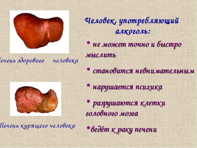 Печень здорового человека Печень курящего человека Человек, употребляющий алк...