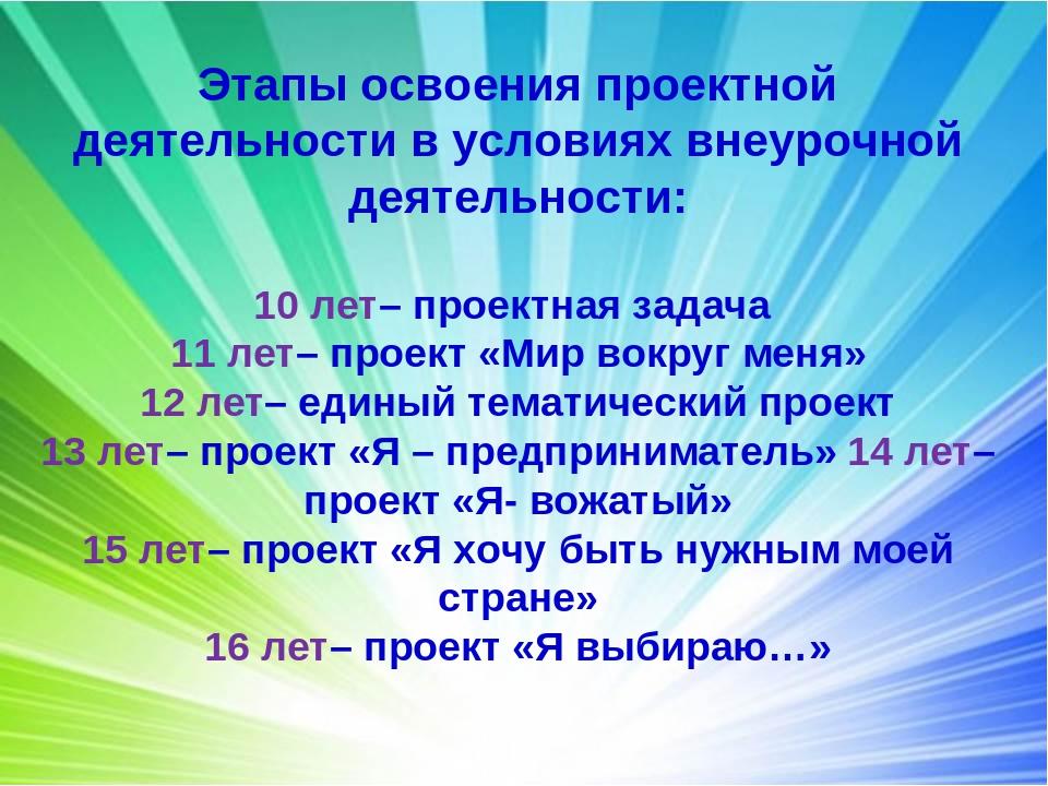 Этапы освоения проектной деятельности в условиях внеурочной деятельности: 10...