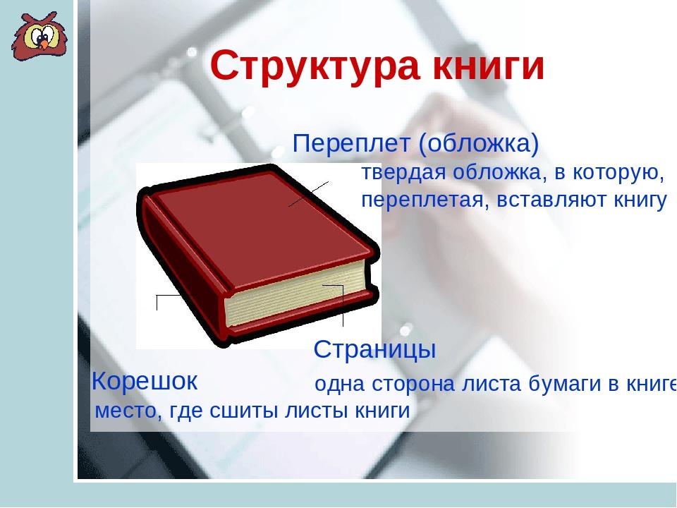 Структура книги Переплет (обложка) Корешок Страницы твердая обложка, в котору...