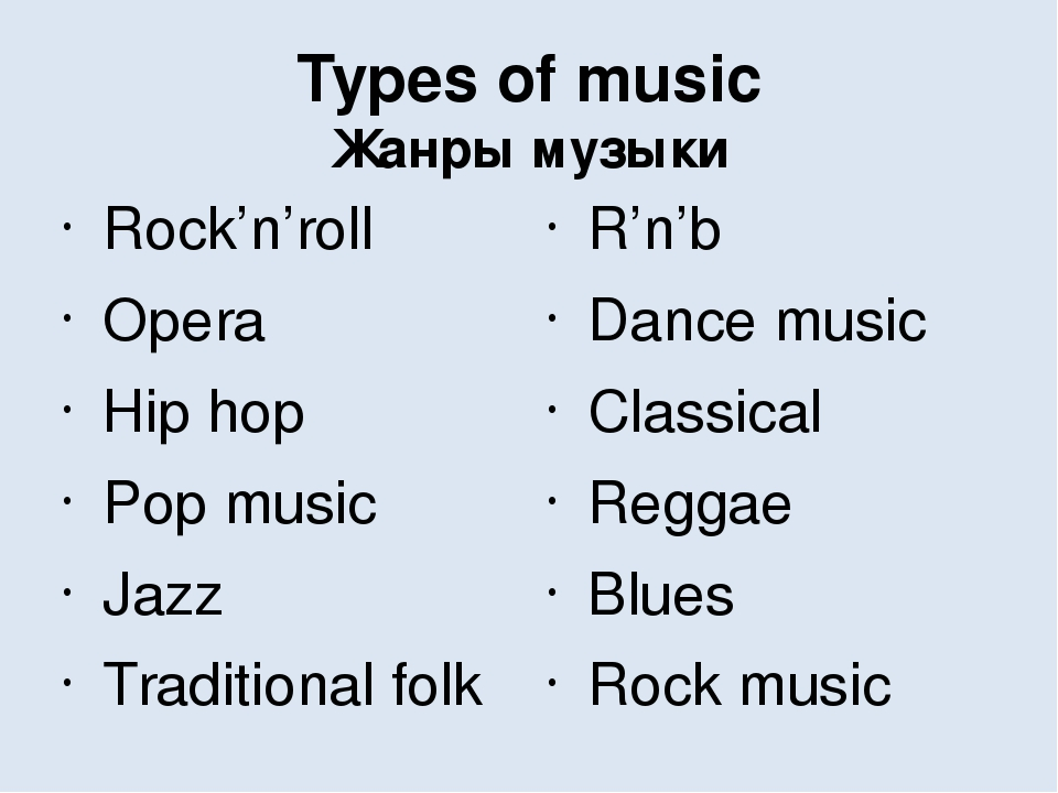 types of music This menu is about the types of music i write about most often click on the links below to find out something about each one by the way, you will need to know what a composer is before you start.