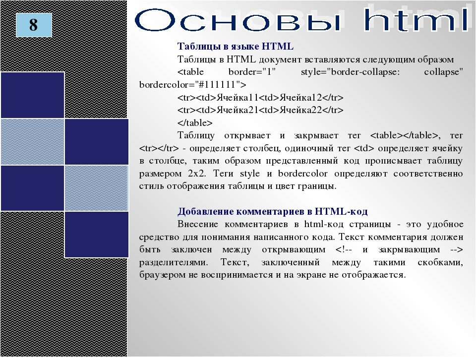 Таблицы в языке HTML Таблицы в HTML документ вставляются следующим образом  Я...