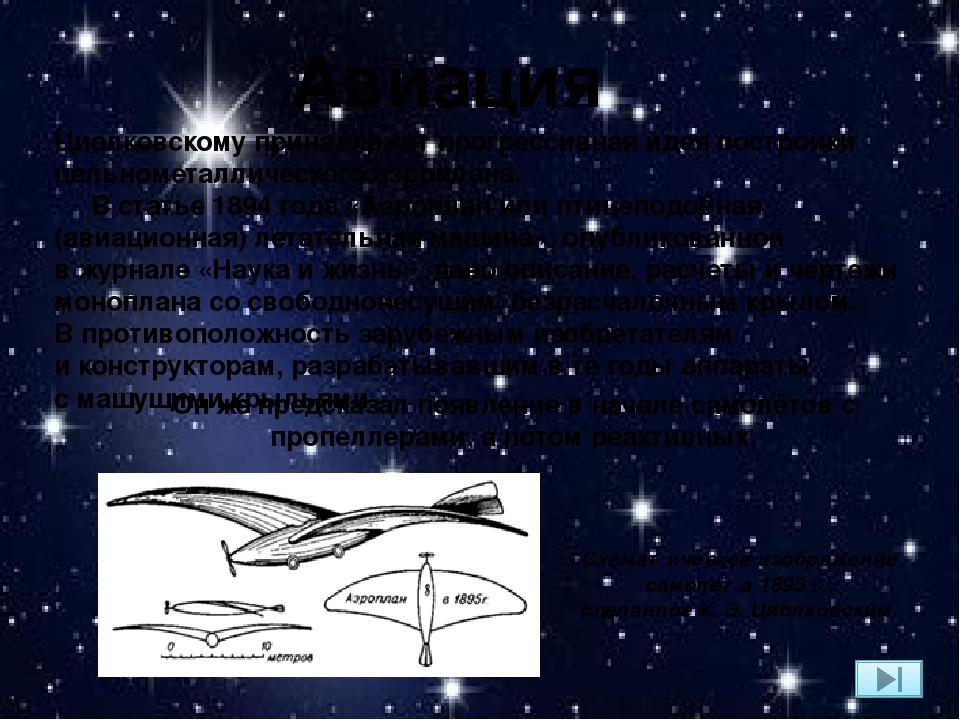 Авиация Циолковскому принадлежит прогрессивная идея постройки цельнометалличе...