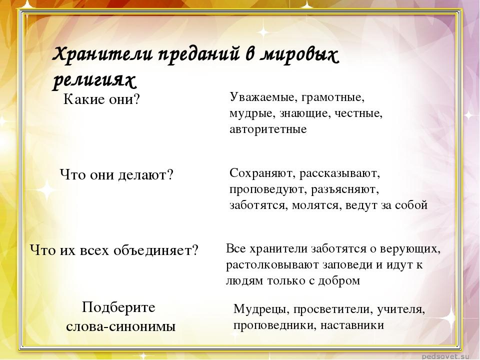 Хранители преданий в мировых религиях Какие они? Уважаемые, грамотные, мудрые...