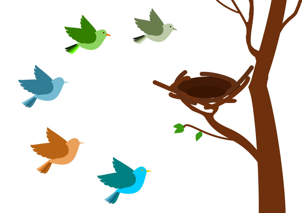Детские рисунки птички на дереве