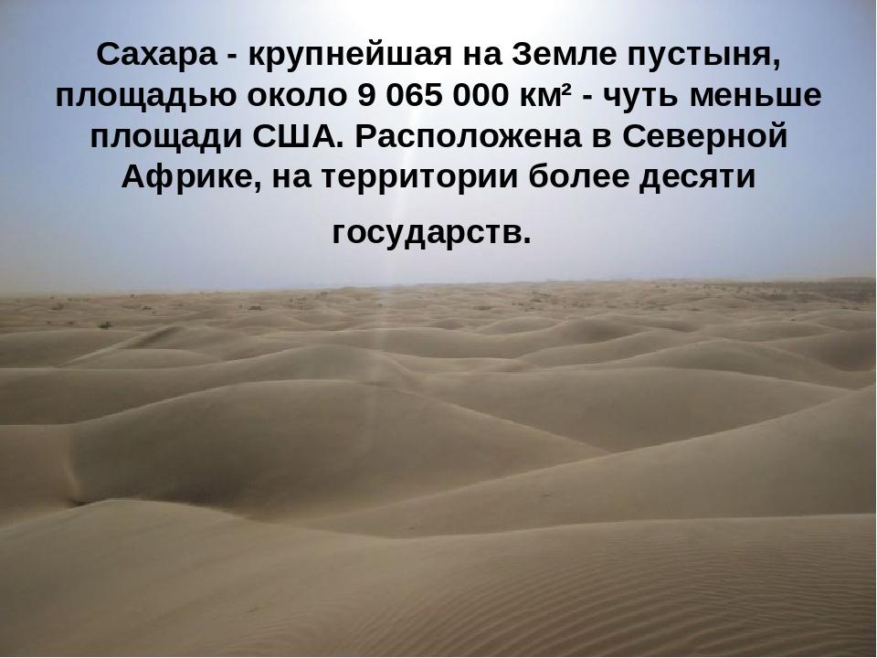 * Сахара - крупнейшая на Земле пустыня, площадью около 9065000 км² - чуть м...