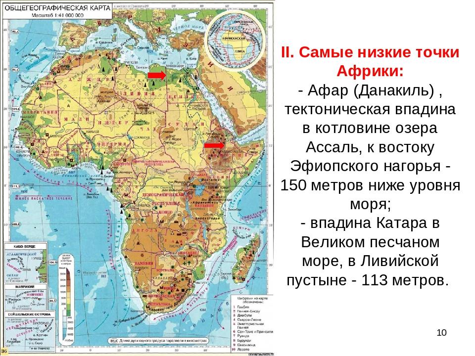 II. Самые низкие точки Африки: - Афар (Данакиль) , тектоническая впадина в ко...