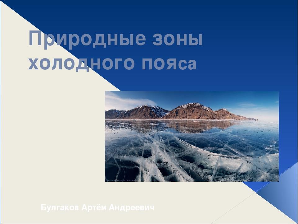 Природные зоны холодного пояса Булгаков Артём Андреевич