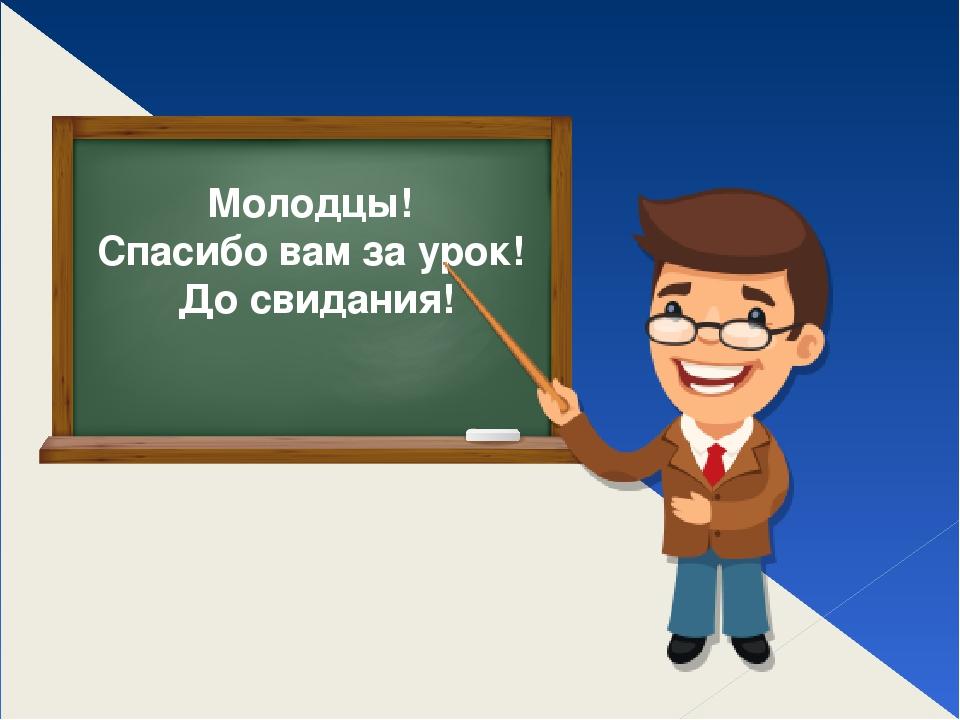 Молодцы! Спасибо вам за урок! До свидания!