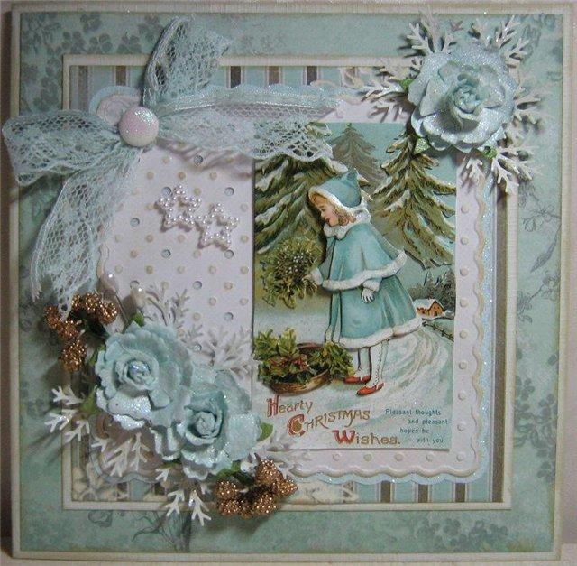 Скрапбукинг открытка на рождество