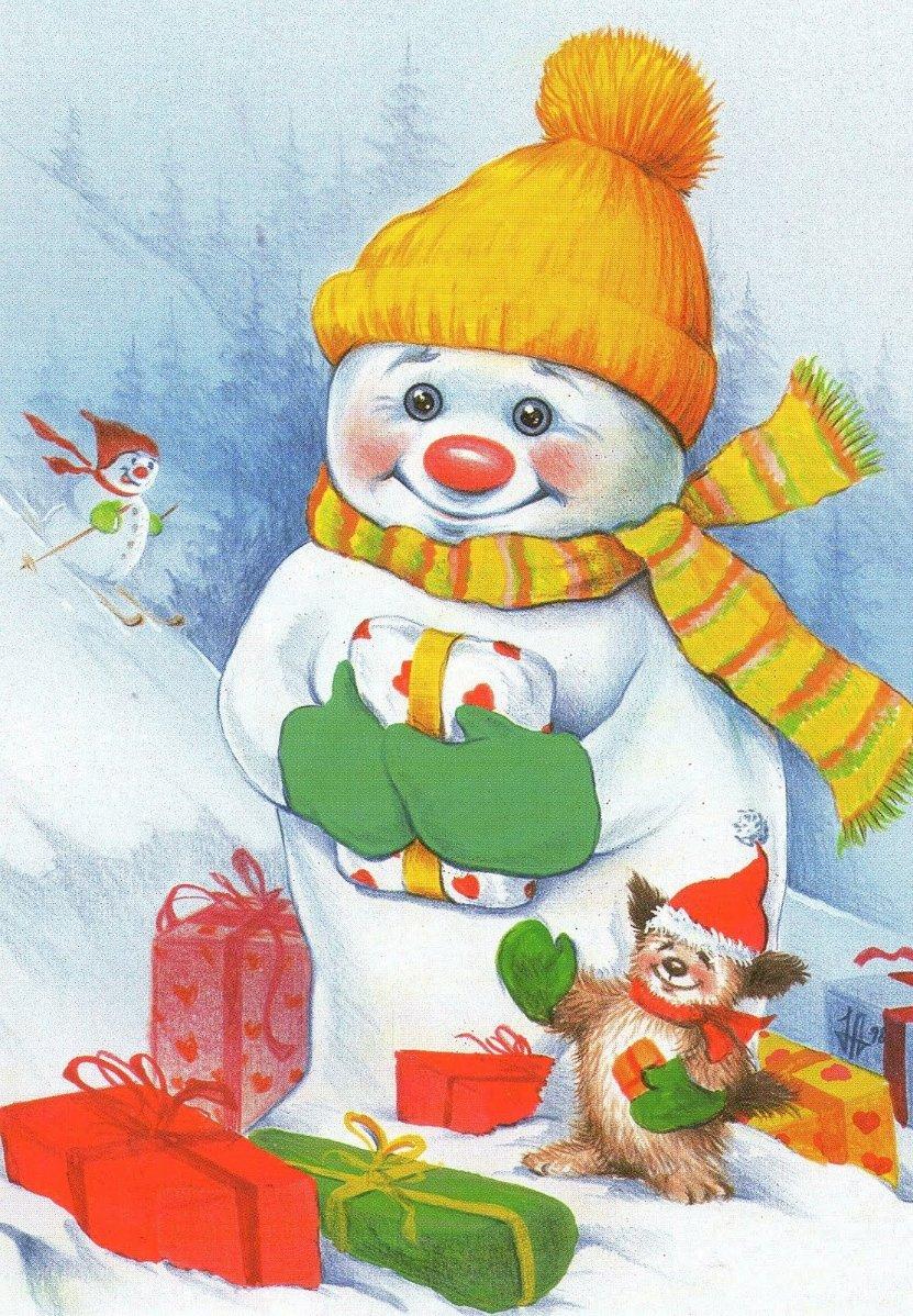 Открытки с снеговиком на новый год, красивые