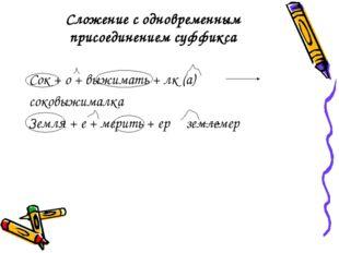 Сложение с одновременным присоединением суффикса Сок + о + выжимать + лк (а)
