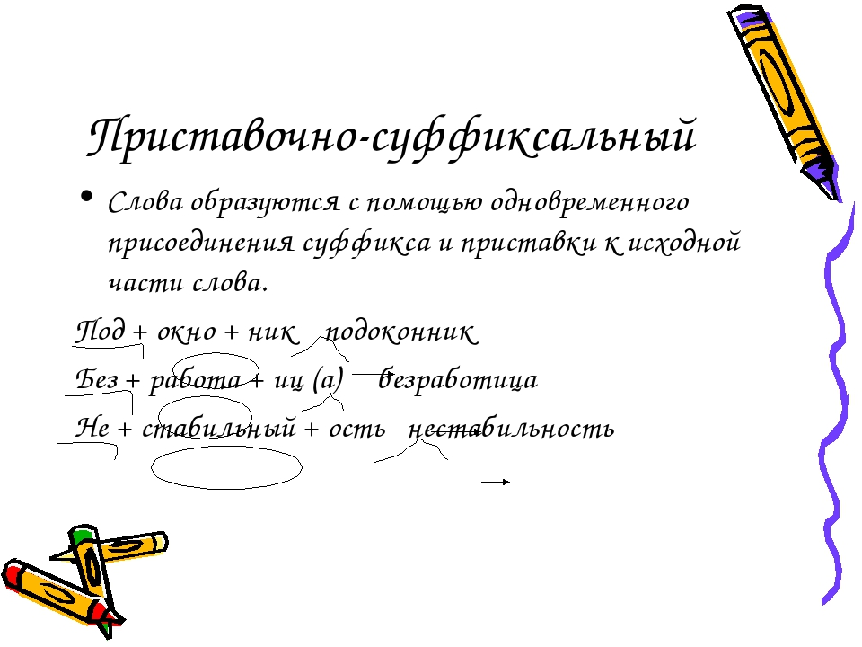 Приставочно-суффиксальный Слова образуются с помощью одновременного присоедин...