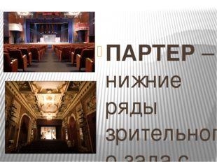ПАРТЕР – нижние ряды зрительного зала с местами для зрителей. Амфитеатр - ве