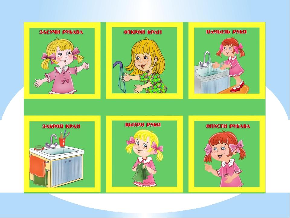 Алгоритм мытья рук для малышей в картинках