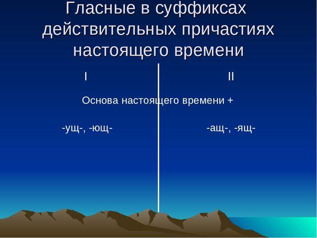 Гласные в суффиксах действительных причастиях настоящего времени I II Основа...