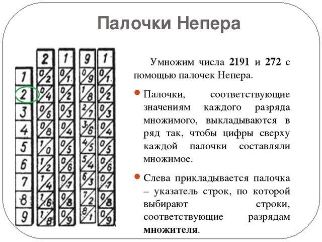Палочки Непера Умножим числа 2191 и 272 с помощью палочек Непера. Палочки, с...