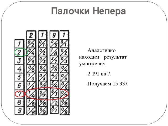 Палочки Непера  Аналогично находим результат умножения 2191 на 7. Получа...