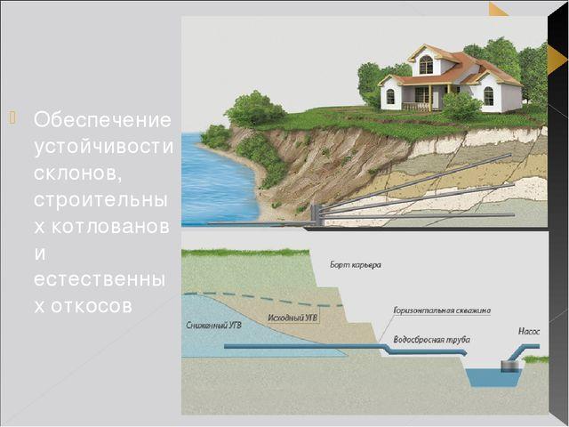 Обеспечение устойчивости склонов, строительных котлованов и естественных отко...