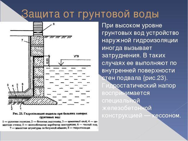 Защита от грунтовой воды При высоком уровне грунтовых вод устройство наружной...