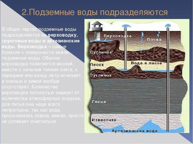 2.Подземные воды подразделяются В общих чертах подземные воды подразделяются...