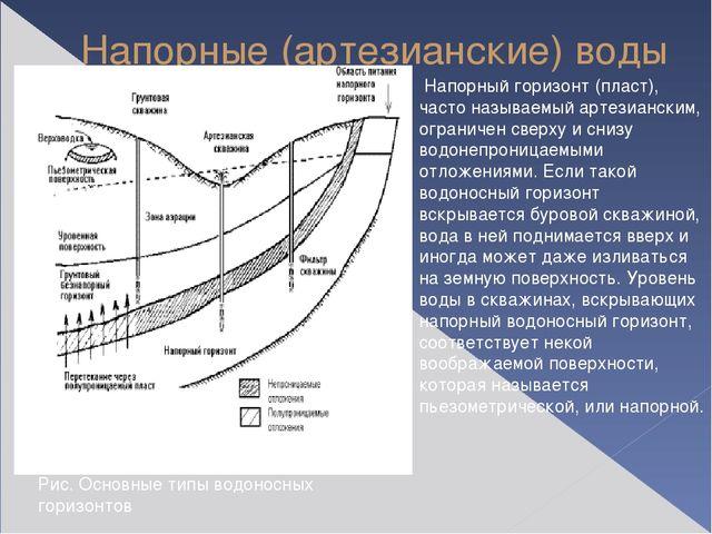 Напорные (артезианские) воды Напорный горизонт (пласт), часто называемый арте...