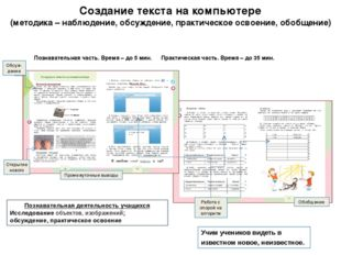 Создание текста на компьютере (методика – наблюдение, обсуждение, практическо