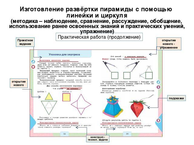 Изготовление развёртки пирамиды с помощью линейки и циркуля (методика – наблю...