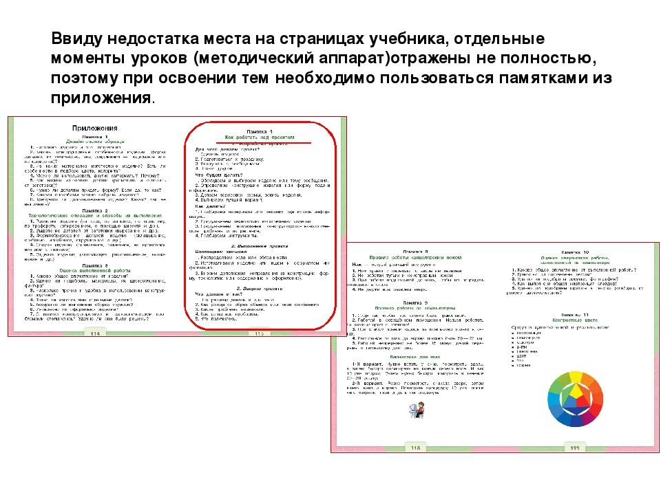 Ввиду недостатка места на страницах учебника, отдельные моменты уроков (метод...