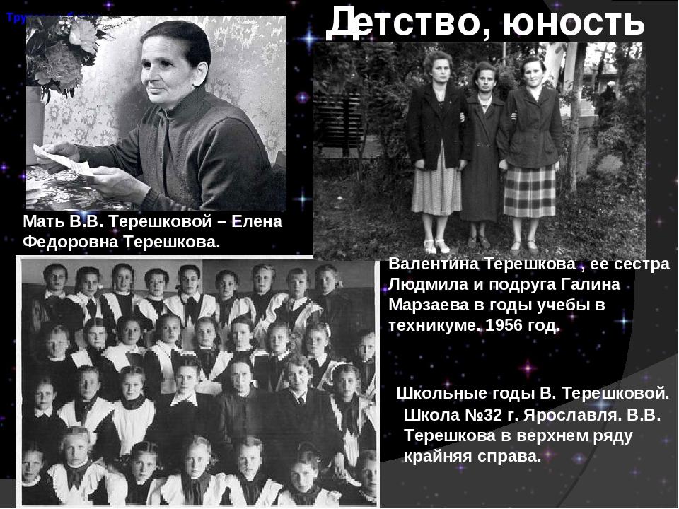Детство, юность Школьные годы В. Терешковой. Школа №32 г. Ярославля. В.В. Тер...