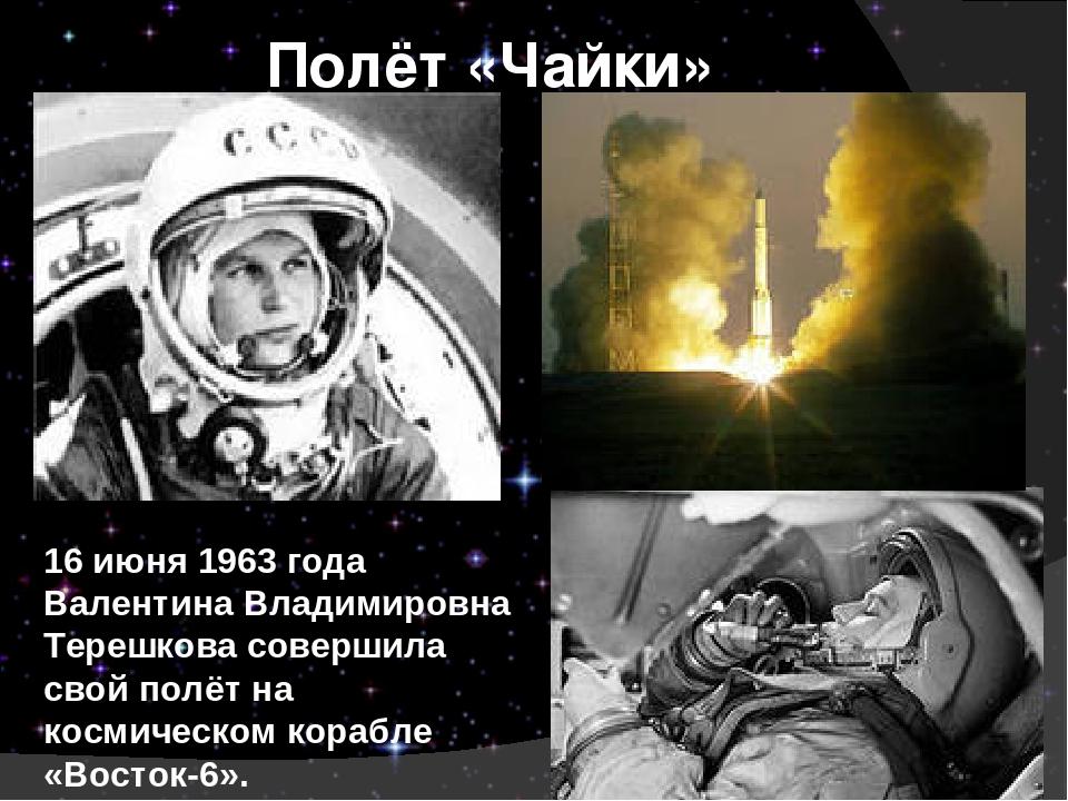 Полёт «Чайки» 16 июня 1963 года Валентина Владимировна Терешкова совершила св...