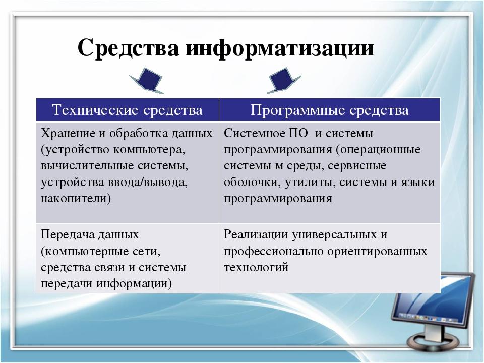 Средства информатизации Технические средства Программные средства Хранение и...