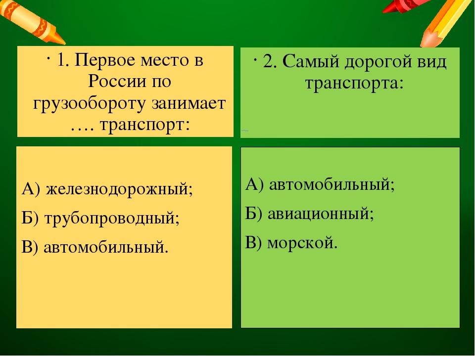 первое место в россии занимает транспорт