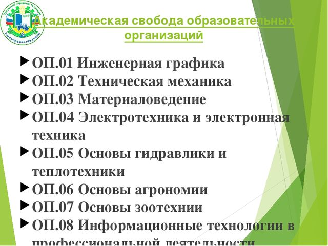 Академическая свобода образовательных организаций ОП.01 Инженерная графика ОП...