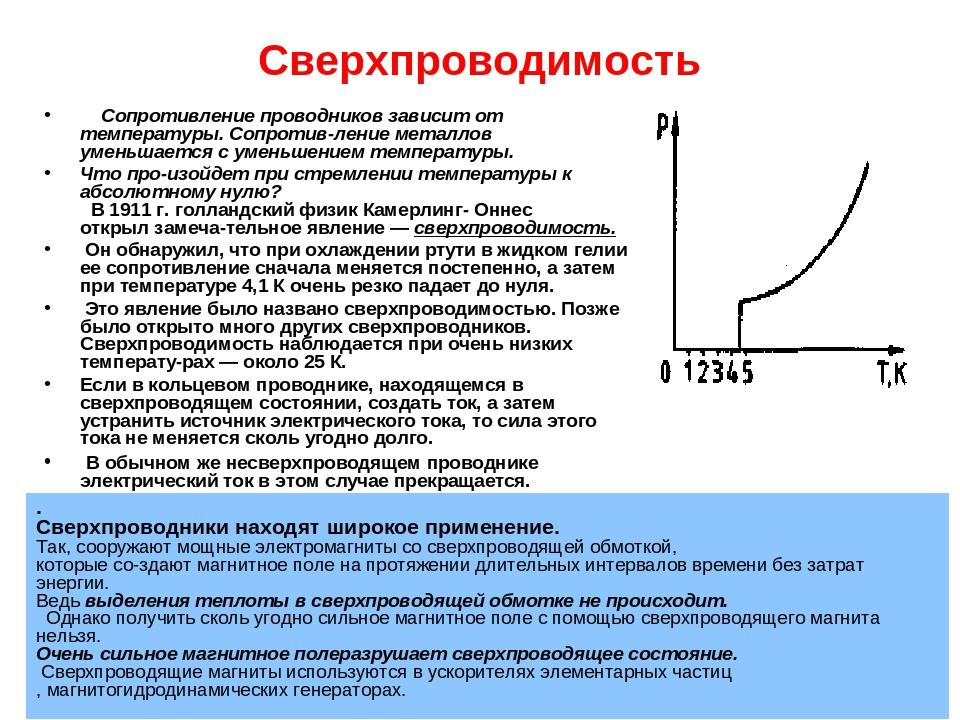 Сверхпроводимость Сопротивление проводников зависит от температуры. Сопротив...