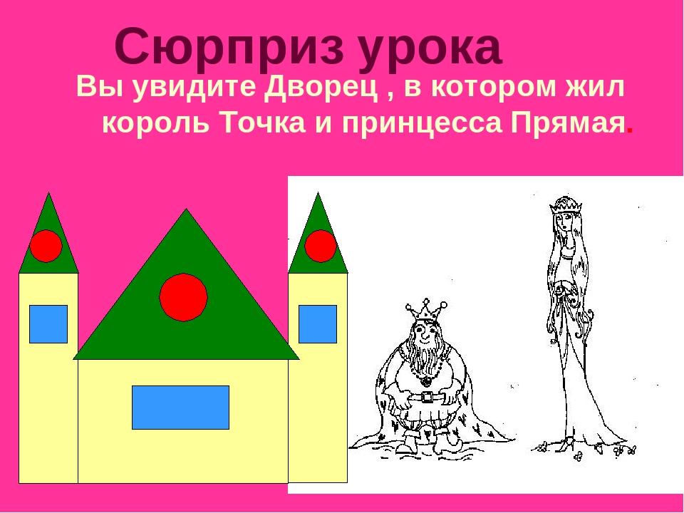 Сюрприз урока Вы увидите Дворец , в котором жил король Точка и принцесса Прям...
