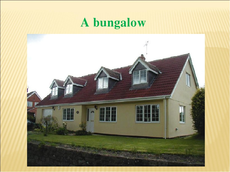 A bungalow The is black. The is nice. The is big.