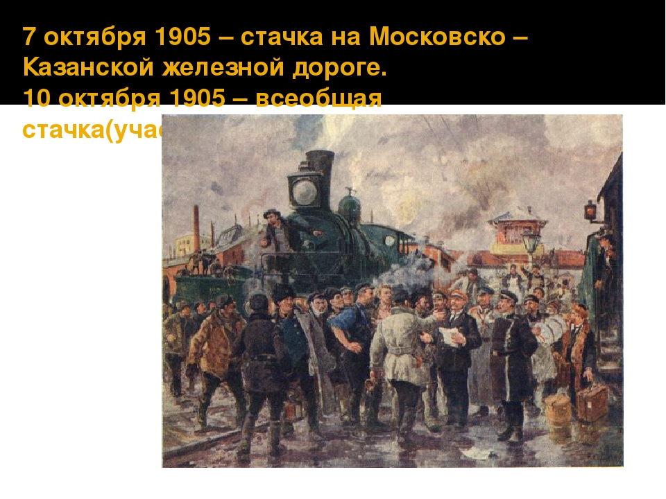 7 октября 1905 – стачка на Московско – Казанской железной дороге. 10 октября...