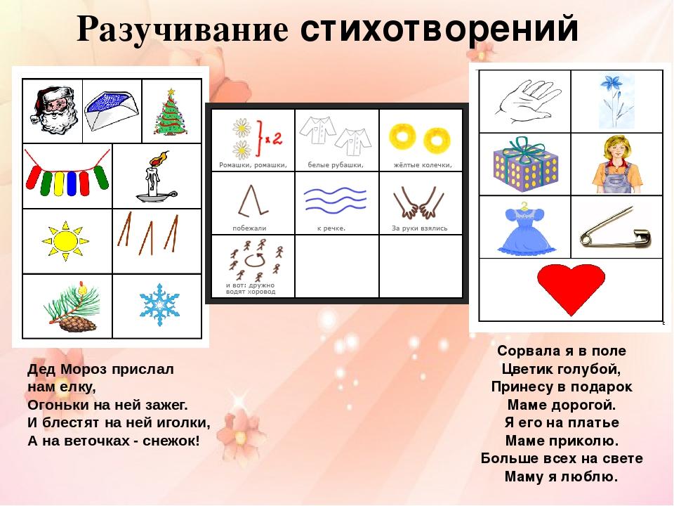 Днем рождения, стихи в картинках для детей 5-6 лет мнемотехника