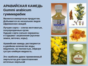 АРАВИЙСКАЯ КАМЕДЬ Gummi arabicum гуммиарабик Является импортным продуктом. До