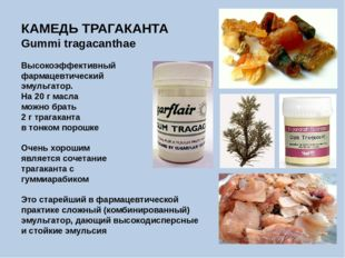 КАМЕДЬ ТРАГАКАНТА Gummi tragacanthae Высокоэффективный фармацевтический эмуль