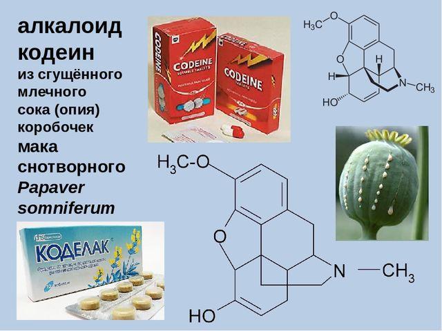 алкалоид кодеин из сгущённого млечного сока (опия) коробочек мака снотворного...