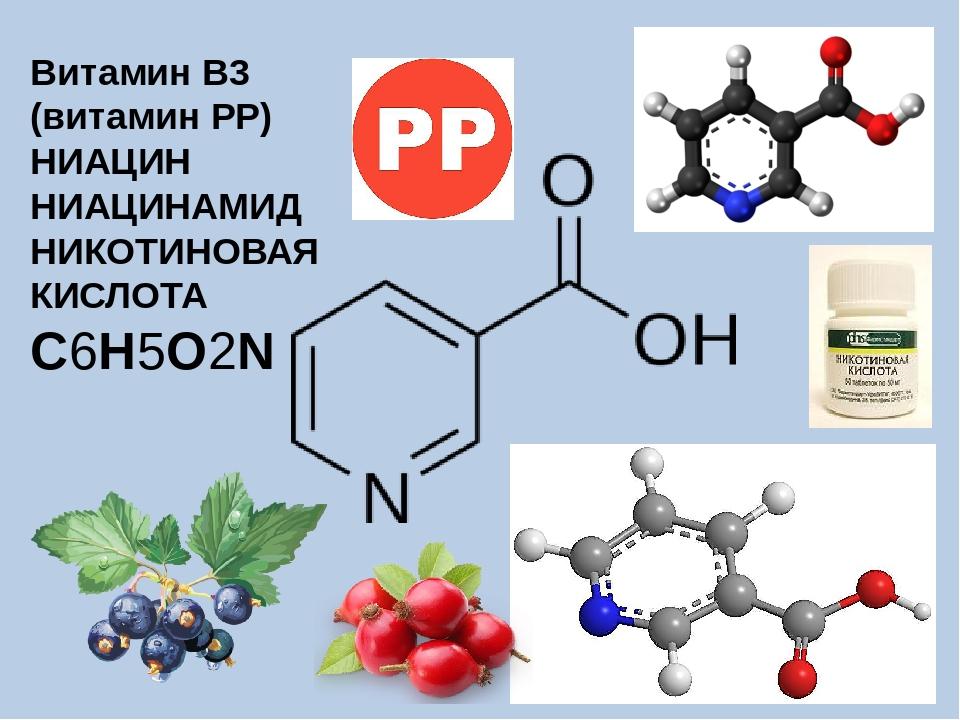 Витамин B3 (витамин РР) НИАЦИН НИАЦИНАМИД НИКОТИНОВАЯ КИСЛОТА C6H5O2N