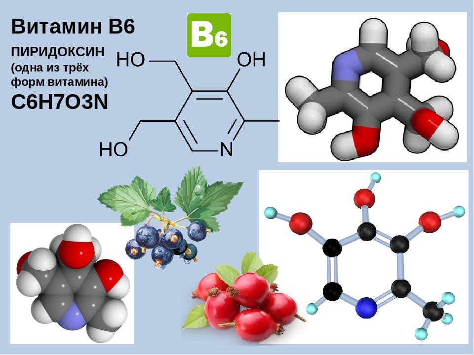 Витамин B6 ПИРИДОКСИН (одна из трёх форм витамина) C6H7O3N