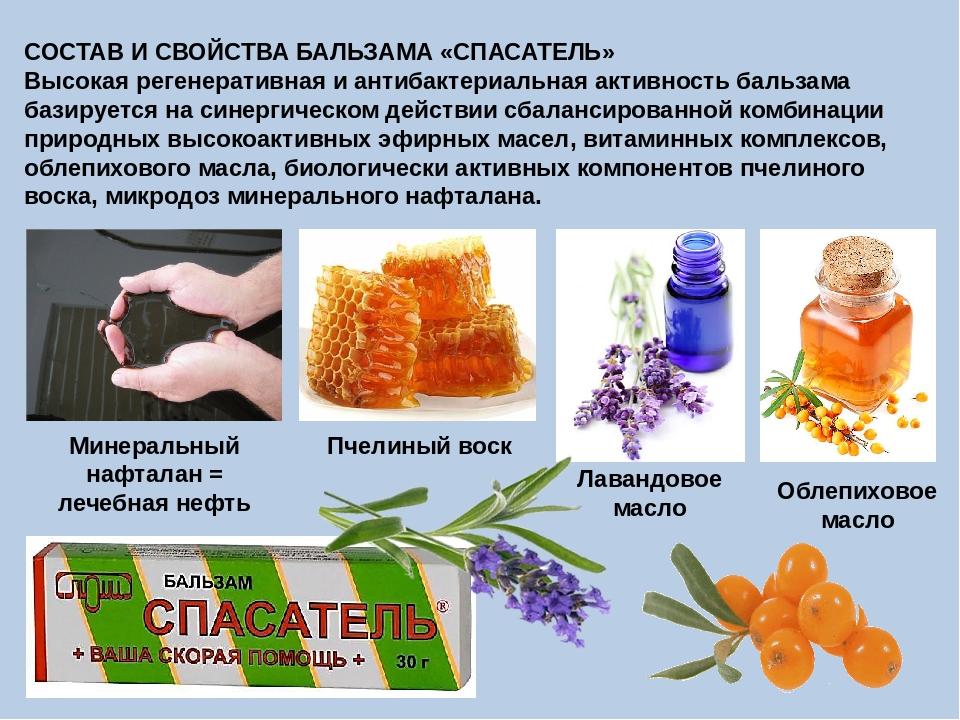СОСТАВ И СВОЙСТВА БАЛЬЗАМА «СПАСАТЕЛЬ» Высокая регенеративная и антибактериал...