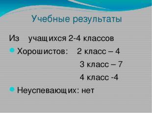 Учебные результаты Из учащихся 2-4 классов Хорошистов: 2 класс – 4 3 класс –